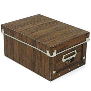 【6個セット】 マルチ収納ボックス/収納箱 【S ブラウン】 幅17cm×奥行24cm×高さ12cm 『アンティークスタイルボックス』