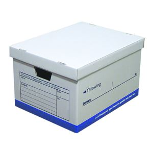 【6個セット】 スローイングボックス/収納箱 【ブルー】 幅33cm ダンボール A4可