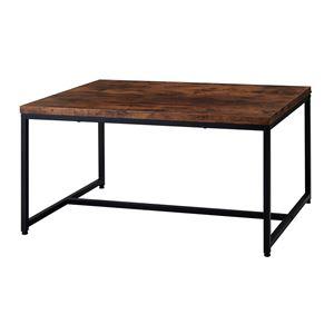 アンティーク風 センターテーブル/ローテーブル 【ブラウン】 幅90×奥行50×高さ45cm スチールフレーム 木目調