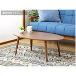 オーバル型 ローテーブル/センターテーブル 【ブラウン】 幅90cm 北欧テイスト 木目調 『Abire』 の画像