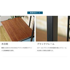 スリム キッチンラック/キッチン収納棚 【ブラウン】 幅60cm×奥行40cm スチールフレーム スライド棚付き