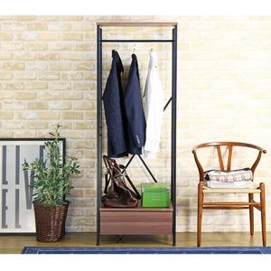 モダン クローゼットハンガーラック/衣類収納 【幅60cm】 スリム 引き出し収納・収納棚付き