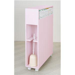 多機能 トイレラック/トイレ収納 【ピンク】 幅15.5cm 省スペース キャスター付き 【完成品】