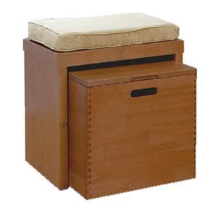 天然木ベンチチェスト/ローボード 【幅40cm】 ブラウン 蓋付き収納ボックス・クッション付き 【完成品】