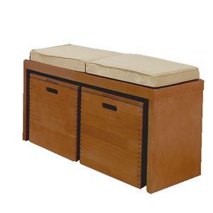 天然木ベンチチェスト/ローボード 【幅80cm】 ブラウン 蓋付き収納ボックス・クッション付き 【完成品】