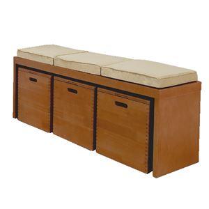 天然木ベンチチェスト/ローボード 【幅120cm】 ブラウン 蓋付き収納ボックス・クッション付き 【完成品】