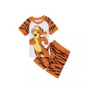 プリント ジャマ ジュニア 上下セット 半袖&短パン(tiger トラ ) 100cm 春夏 薄手綿100%