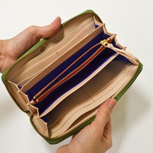 Riton3辺ファスナーAYAレザー財布(S)/グリーン(日本製)