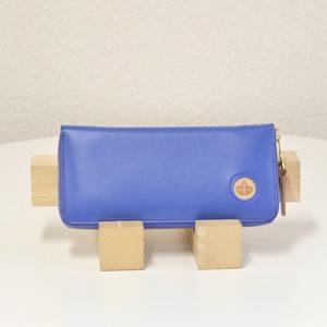 Riton3辺ファスナーAYAレザー財布(S)/ブルー(日本製)