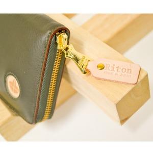 Riton3辺ファスナーAYAレザー財布(M)/オリーブ(日本製)