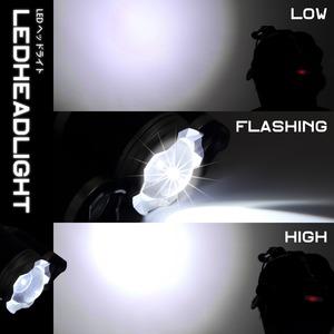 Tomo Light(トモライト) LEDヘッドライト ジョギング ウォーキング 自転車 釣り 三眼ライト PSE認証 18650型リチウムイオンバッテリー 2本付属【単品】