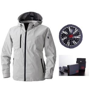 鳳皇 V8303フードジャケット シルバーグレー サイズL ファンブラック バッテリーセット(服V8305 +ファンV9102B + V9101バッテリーセット)