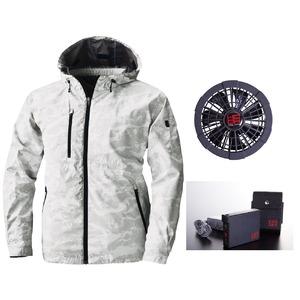 鳳皇 V8303フードジャケット カモフラホワイト サイズLL ファンブラック バッテリーセット(服V8305 +ファンV9102B + V9101バッテリーセット)