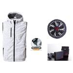 鳳皇 V8309 フードベスト カモフラホワイト サイズL ファンブラック バッテリーセット(服V8309 +ファンV9102B + V9101バッテリーセット)