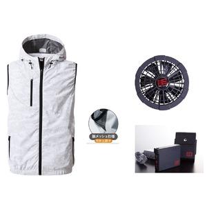 鳳皇V8309フードベストカモフラホワイトサイズLLファンブラックバッテリーセット(服V8309+ファンV9102B+V9101バッテリーセット)