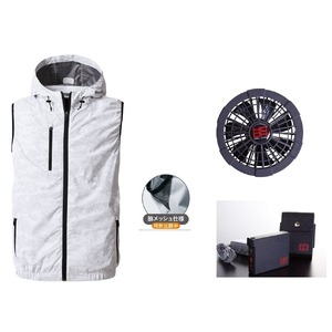 鳳皇V8309フードベストカモフラホワイトサイズ3Lファンブラックバッテリーセット(服V8309+ファンV9102B+V9101バッテリーセット)