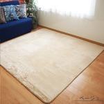 ふわふわ ラビットファータッチラグ リュクシュ 約3畳 約185x230cm ベージュ 丸洗い可