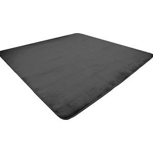 なめらか軽量ラグマット/絨毯【約2畳約185cm×185cmブラック】正方形洗えるホットカーペット床暖房対応〔リビング〕