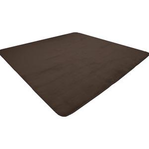 なめらか軽量ラグマット/絨毯【約2畳約185cm×185cmブラウン】正方形洗えるホットカーペット床暖房対応〔リビング〕