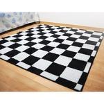 モダン ラグマット/絨毯 【約6畳 約261cm×352cm ブラック×ホワイト】 日本製 抗菌 防臭 ホットカーペット対応 『モナコ』
