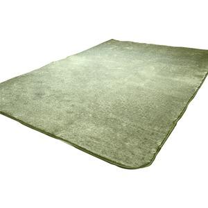 フランネル調タッチラグ ガーデン 約1.5畳 約130x185cm グリーン 丸洗い可