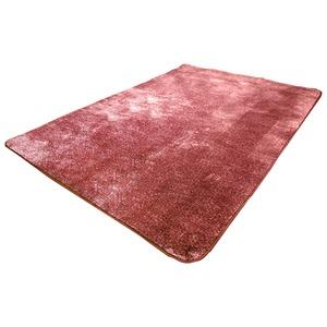 フランネル調タッチラグマット/絨毯 【約1.5畳 約130cm×185cm ワインレッド】 洗える 軽量 ホットカーペット対応 『ガーデン』