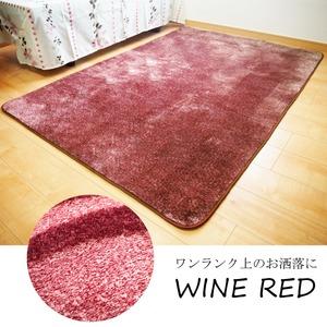 フランネル調タッチラグマット/絨毯 【約1.5畳 約130cm×185cm パープル】 洗える 軽量 ホットカーペット対応 『ガーデン』