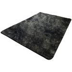 フランネル調タッチラグ ガーデン 約3畳 約185x230cm ブラック 丸洗い可