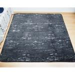 軽量 さらさら やわらかタッチデザインラグ デザート 約2畳 約185x185cm かすりブラック 丸洗い可