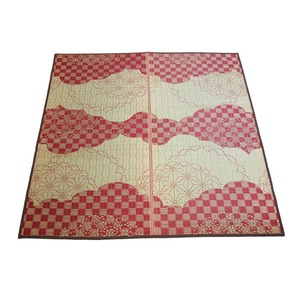 い草ラグWATSUMUGIラグマット/絨毯【レッド約2畳約176cm×176cm】防カビ加工『わつむぎ』