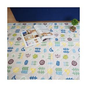 ナチュラルスタイル コットンラグ ラグマット/絨毯 【約3畳 約180cm×240cm ブルー】 ホットカーペット 床暖房対応 『poco a poco』