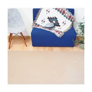なめらかパウダータッチラグ 軽量 ラグマット/絨毯 【約2畳 約185cm×185cm ベージュ 】 長方形 洗える ホットカーペット 床暖房対応 フランネルラグ