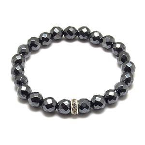 カットヘマタイト×キュービックジルコニア・数珠ブレスレットZZBJ-0025chewcz