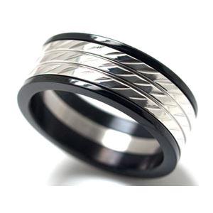 ブラックサイドカラー・ステンレスリング・15号 ZZRST012bk-15x
