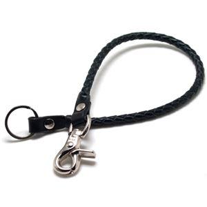 レザーウォレットチェーン・四つ編み・ブラック×ブラック・51.0cm ZZWC-026bkbkx510x