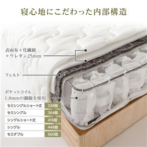 脚付きマットレス 国産 分割型 ポケットコイル 竹炭抗菌・防臭仕様 ショート丈 セミシングル 脚15cm 組立設置サービス付き