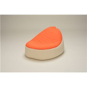 コンパクト ビーズクッション/ローソファー 【1人掛け オレンジアイボリー】 極小1mmビーズ 日本製