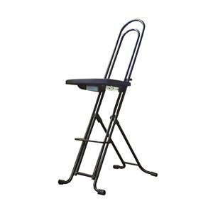 シンプル折りたたみ椅子【ブラック×ブラック幅335mm】日本製スチールパイプLP-850『ジャンボベストワークチェア』