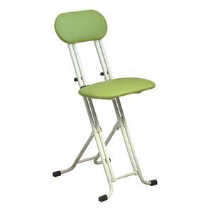 シンプル 折りたたみ椅子 【グリーン×ミルキーホワイト 幅330mm】 スチールパイプ 『ニューベストホビーチェア』