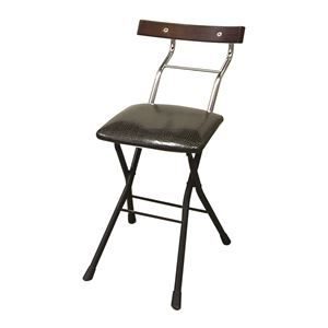 折りたたみ椅子【リザードブラック×ブラック+ダークブラウン】幅36cm日本製スチールパイプ『ロイドチェア』