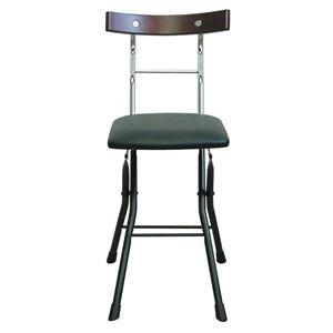 折りたたみ椅子【ブラック×ブラック+ダークブラウン】幅36cm日本製スチールパイプ『ロイドチェア』