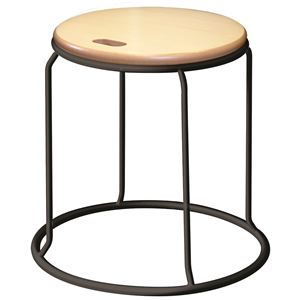 北欧風スツール/丸椅子【同色5脚セットナチュラル×ブラック】幅415mmスチール『ウッドリンクスツール』