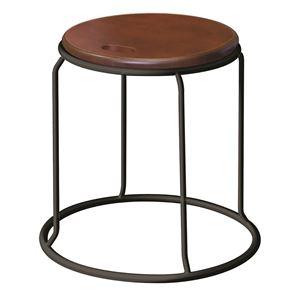 北欧風スツール/丸椅子【同色5脚セットダークブラウン×ブラック】幅415mmスチール『ウッドリンクスツール』