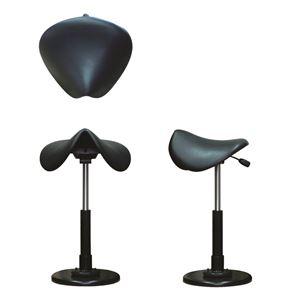 モダン スツール/腰掛け椅子 【ブラック×ブラック】 幅43cm 日本製 スチール 防水性仕様 『鞍馬チェア』