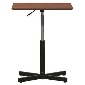 昇降サイドテーブル 【ダークブラウン×ブラック】 幅60cm 日本製 木製 スチールパイプ 耐荷重30kg 『ブランチ ヘキサテーブル』