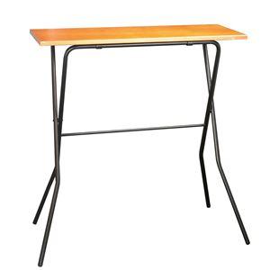 モダン 折りたたみテーブル 【ミドルブラウン×ブラック】 幅90cm 耐荷重30kg 日本製 スチールパイプ 『エフカウンターテーブル』