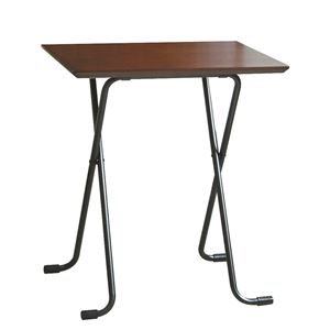 折りたたみテーブル 【角型 ダークブラウン×ブラック】 幅60cm 日本製 木製 スチールパイプ 〔ダイニング リビング〕