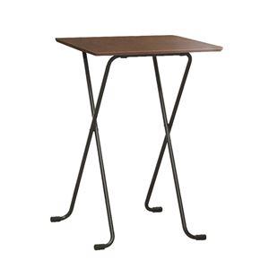折りたたみハイテーブル【角型ダークブラウン×ブラック】幅60cm日本製木製スチールパイプ〔ダイニングリビング〕