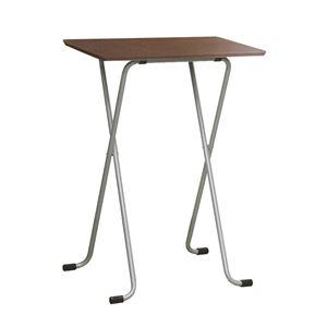 折りたたみハイテーブル【角型ダークブラウン×シルバー】幅60cm日本製木製スチールパイプ〔ダイニングリビング〕