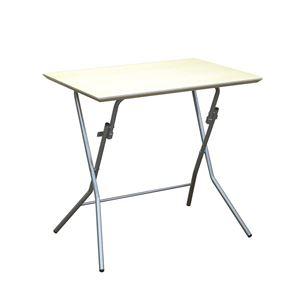 折りたたみテーブル 【幅75cm ナチュラル×シルバー】 日本製 木製 スチールパイプ 『スタンドタッチテーブル755』